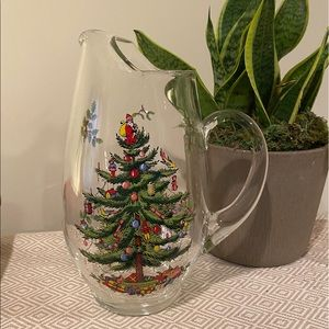 Spode glass pitcher Christmas tree 10in